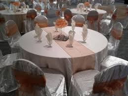 Table And Chair Covers White Satin Chair Covers And White Polyester Tablecloth Accented
