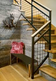 Stair Banisters And Railings Ideas Denver Stair Railing Ideas Staircase Rustic With Entry Bench
