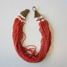 red antique necklace images Antique vintage african naga nagaland trade bead necklace multi JPG