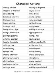 list of phrases for charades by the gal teachers pay teachers