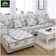 Sofa Covers White Living Room Varnish Wooden Legs Floral Print Stretch Sofa Cover