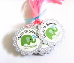 green elephant favor tags thanks for showering our little peanut