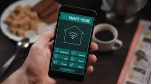 smart home systems smart home application on the phone a man manages various
