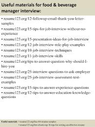 Food And Beverage Resume Template Food And Beverage Resume Sample Housekeeping Supervisor Resume