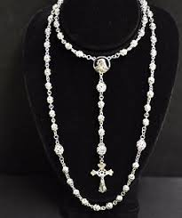 white rosary 18k solid white gold rosary necklace filigree bead crucifix cross