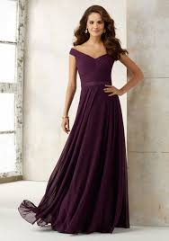 chiffon bridesmaids dress with off the shoulder neckline morilee