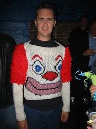 ugliest sweater the infamous clown sweater this is wil wheaton wearing a
