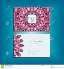 oriental business card mockup with pink round mandala pattern