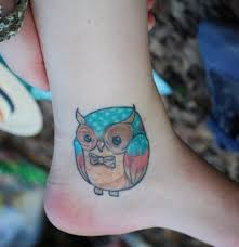 small owl on ankle designs pictures