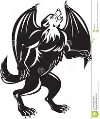 kludde black wolf with bat wings stock illustration