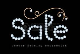 sale banner with jewelry letters and gold jewellery swirly