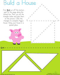 cutting triangles build a house motor skills worksheets and