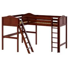 corner loft bed twin size chestnut high corner loft bed
