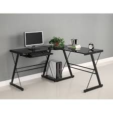 Glass Corner Desks Walker Edison Soreno 3 Corner Desk Black With