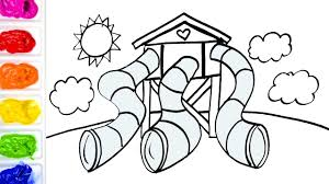 coloring tunnel slides and tower playground colouring pages for