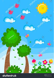 vector garden cartoon drawing for kids with flowers butterflies