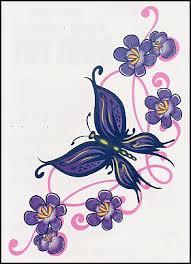 purple butterfly lower back temporary or purple butterfly
