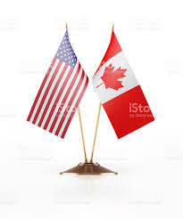 Flag Of The United States Of America Miniature Flag Of United States Of America And Canada Stock Photo