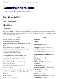 the sims 3 pc cheat codes hints and help cheating in video
