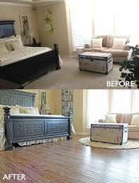 master bedroom remodel before and after from carpet to wood look