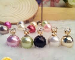 two sided earrings 2017 fashion jewelry two sided pearls earrings zircon front