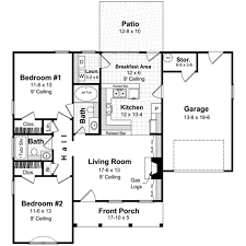 ranch style house plan 2 beds 2 00 baths 1001 sq ft plan 21 167