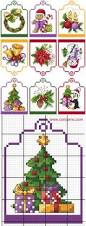 a set of 6 cross stitch christmas tree ornaments by bearatam
