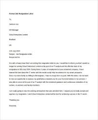 10 formal resignation letters free sample example format