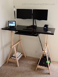 Convert Sitting Desk To Standing Desk by Desks Desk Riser Blocks Workez Keyboard Tray Sit To Stand Desk