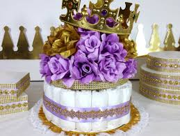 crown lavender and gold baby shower centerpiece girls royal