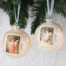set of 6 vintage portrait european glass ornaments