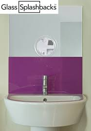 bathroom splashback ideas purple glass sink splashback by glasssplashbacks com shop our