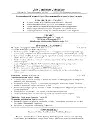 Best Marketing Resume Samples by Sports Management Resume Resume For Your Job Application