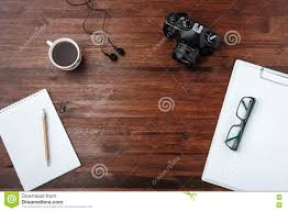 Dark Wooden Table Top Coffee And Camera On Dark Wood Table With Paper Pen Glasses Top