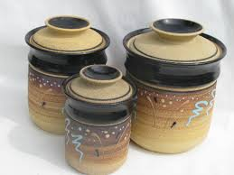 pottery canisters kitchen vintage unglazed stoneware pottery kitchen canisters retro earth