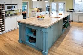 distressed island kitchen painted distressed antique blue island with bowling alley