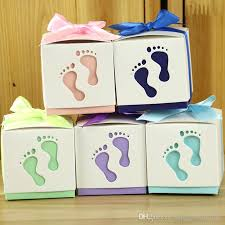 pre wrapped gift boxes christmas wedding favor ribbon box hollow baby cart footprint with ribbon