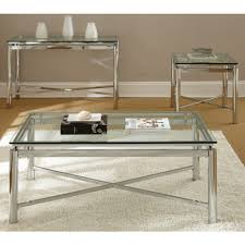 Glass Top Coffee Tables And End Tables Coffee Table Natal Chrome And Glass Coffee Table By Greyson Living