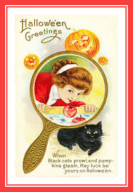 vintage halloween postcards with love theme