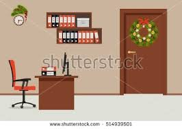 Office Table Christmas Decoration by Office Room Decorated Christmas Decoration There Stock Vector