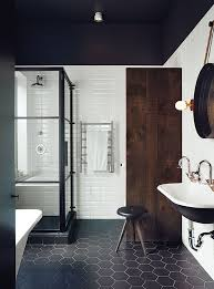 dwell bathroom ideas renovated montreal bathroom with black and white ceragres tiles