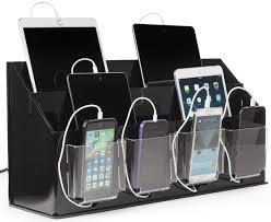 multi device charging station organizer black u0026 clear acrylic
