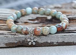 sterling silver charm bead bracelet images One gorgeous aqua terra jasper gemstone stretch bracelet by jpg