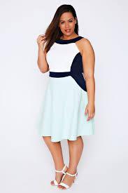 pastel green cream u0026 navy colour block skater dress plus size 16