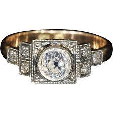 vintage art deco diamond ring solitaire engagement polish 14k