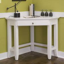simple white corner desk with drawer and table lamp ideas