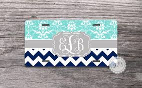 monogrammed plate personalized license plate blue floral damask and navy