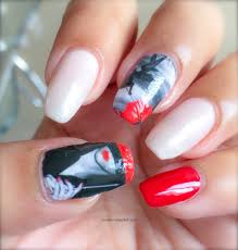 nail art with water decals with red umbrella love for