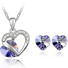 pendant necklace earring images Crystal jewelry set made with swarovski elements pendant necklace jpg