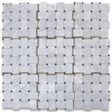 carrara white large basketweave mosaic tile w black dots polished